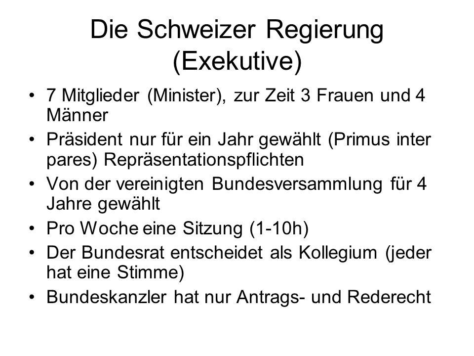 Die Schweizer Regierung (Exekutive) 7 Mitglieder (Minister), zur Zeit 3 Frauen und 4 Männer Präsident nur für ein Jahr gewählt (Primus inter pares) Re
