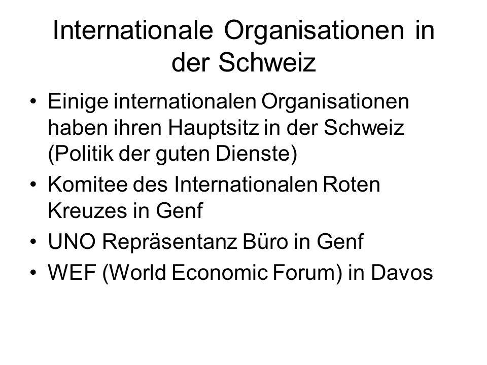 Internationale Organisationen in der Schweiz Einige internationalen Organisationen haben ihren Hauptsitz in der Schweiz (Politik der guten Dienste) Ko