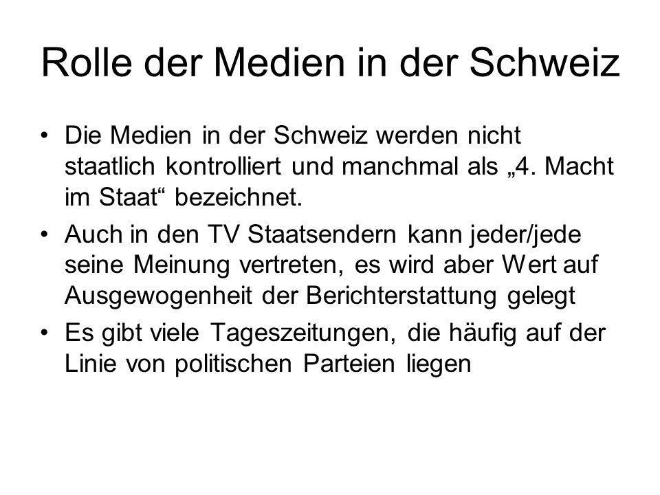 Rolle der Medien in der Schweiz Die Medien in der Schweiz werden nicht staatlich kontrolliert und manchmal als 4. Macht im Staat bezeichnet. Auch in d