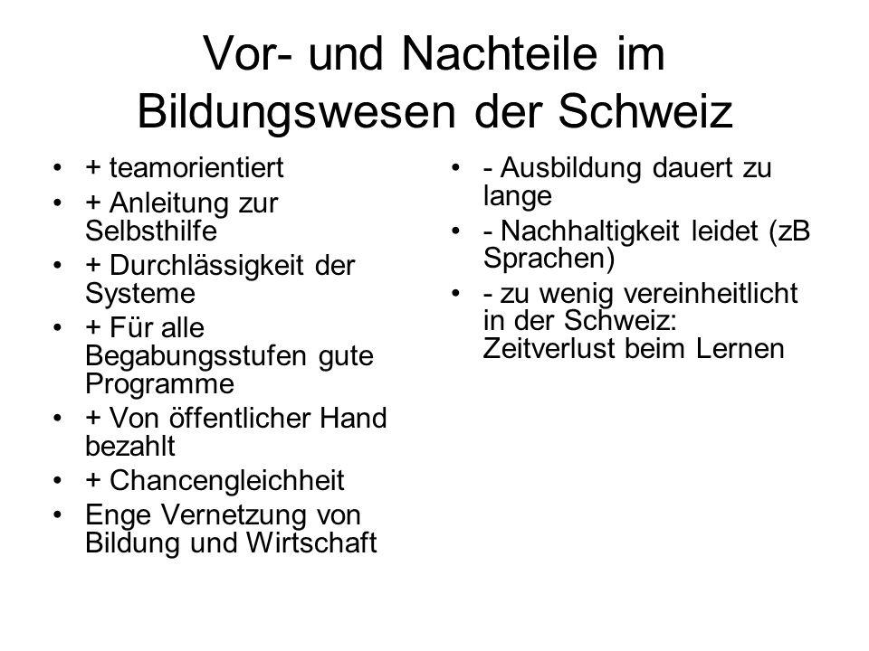 Vor- und Nachteile im Bildungswesen der Schweiz + teamorientiert + Anleitung zur Selbsthilfe + Durchlässigkeit der Systeme + Für alle Begabungsstufen