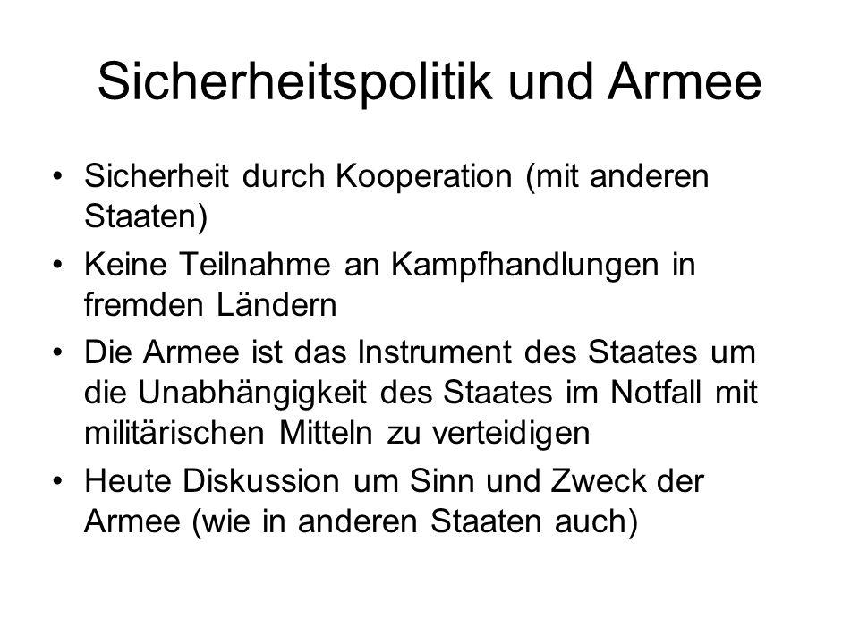 Sicherheitspolitik und Armee Sicherheit durch Kooperation (mit anderen Staaten) Keine Teilnahme an Kampfhandlungen in fremden Ländern Die Armee ist da
