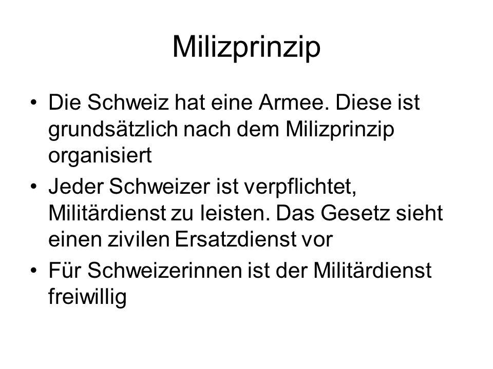 Milizprinzip Die Schweiz hat eine Armee. Diese ist grundsätzlich nach dem Milizprinzip organisiert Jeder Schweizer ist verpflichtet, Militärdienst zu