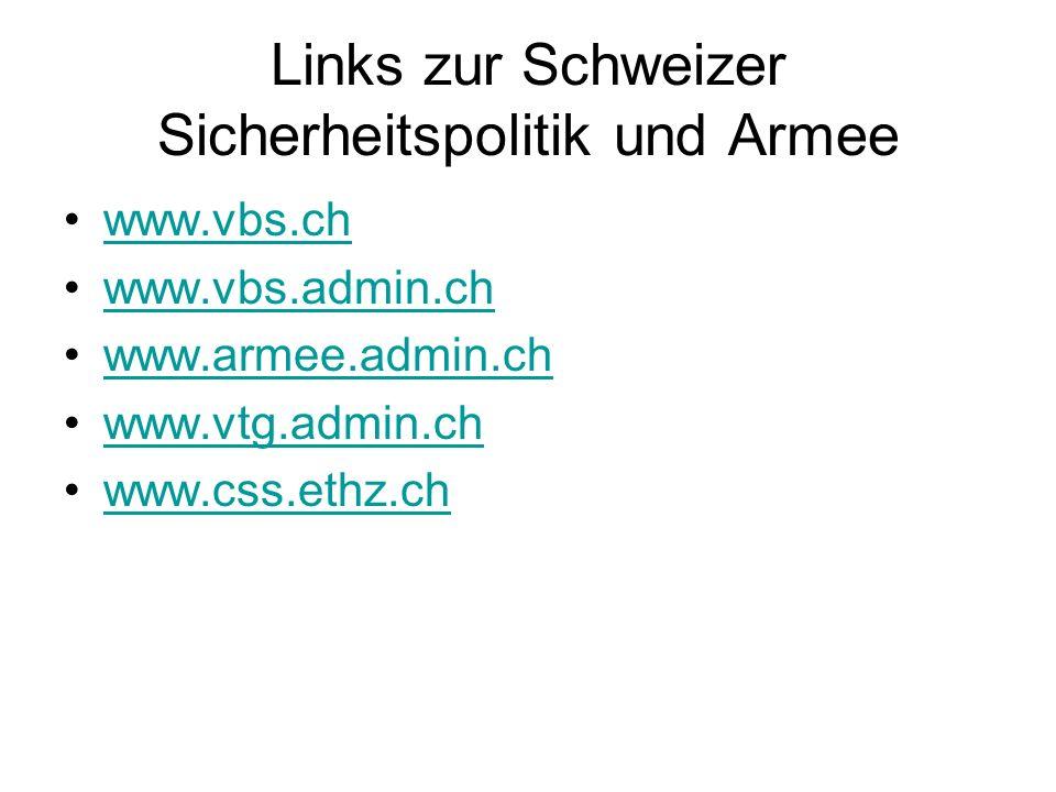 Links zur Schweizer Sicherheitspolitik und Armee www.vbs.ch www.vbs.admin.ch www.armee.admin.ch www.vtg.admin.ch www.css.ethz.ch