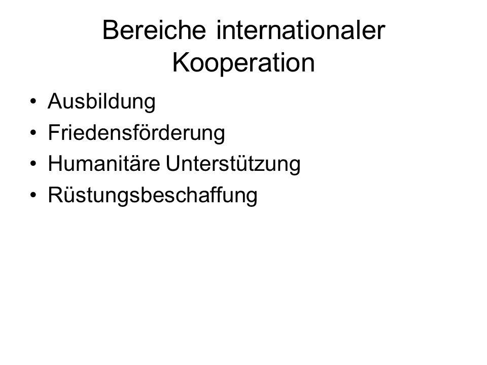 Bereiche internationaler Kooperation Ausbildung Friedensförderung Humanitäre Unterstützung Rüstungsbeschaffung