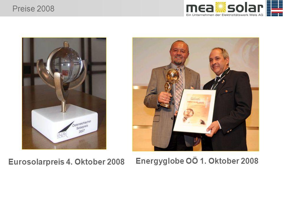 Preise 2008 Eurosolarpreis 4. Oktober 2008 Energyglobe OÖ 1. Oktober 2008