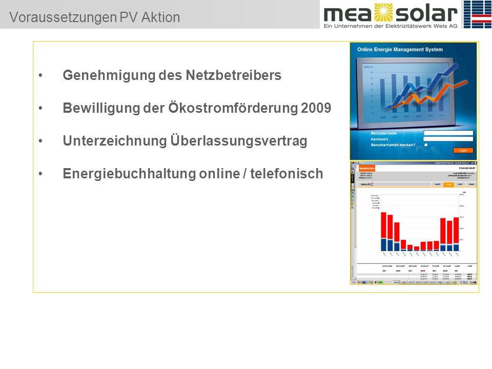 Voraussetzungen PV Aktion Genehmigung des Netzbetreibers Bewilligung der Ökostromförderung 2009 Unterzeichnung Überlassungsvertrag Energiebuchhaltung online / telefonisch
