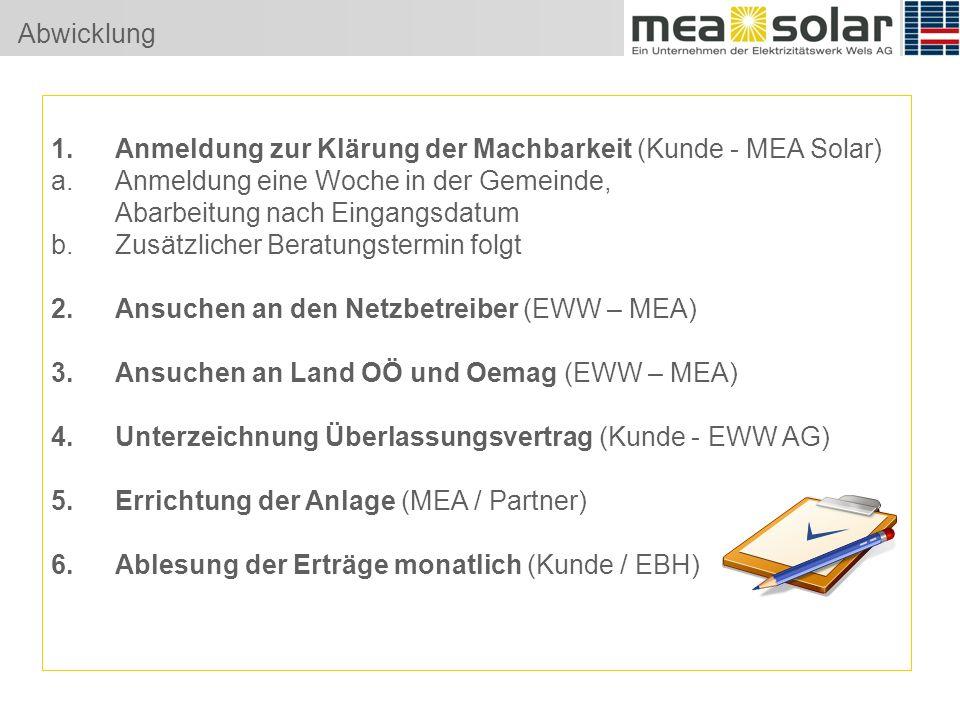 Abwicklung 1.Anmeldung zur Klärung der Machbarkeit (Kunde - MEA Solar) a.Anmeldung eine Woche in der Gemeinde, Abarbeitung nach Eingangsdatum b.