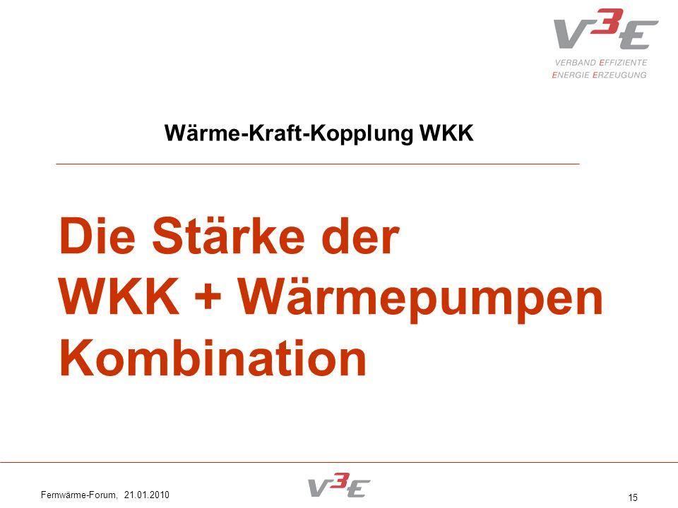 Fernwärme-Forum, 21.01.2010 15 Wärme-Kraft-Kopplung WKK Die Stärke der WKK + Wärmepumpen Kombination