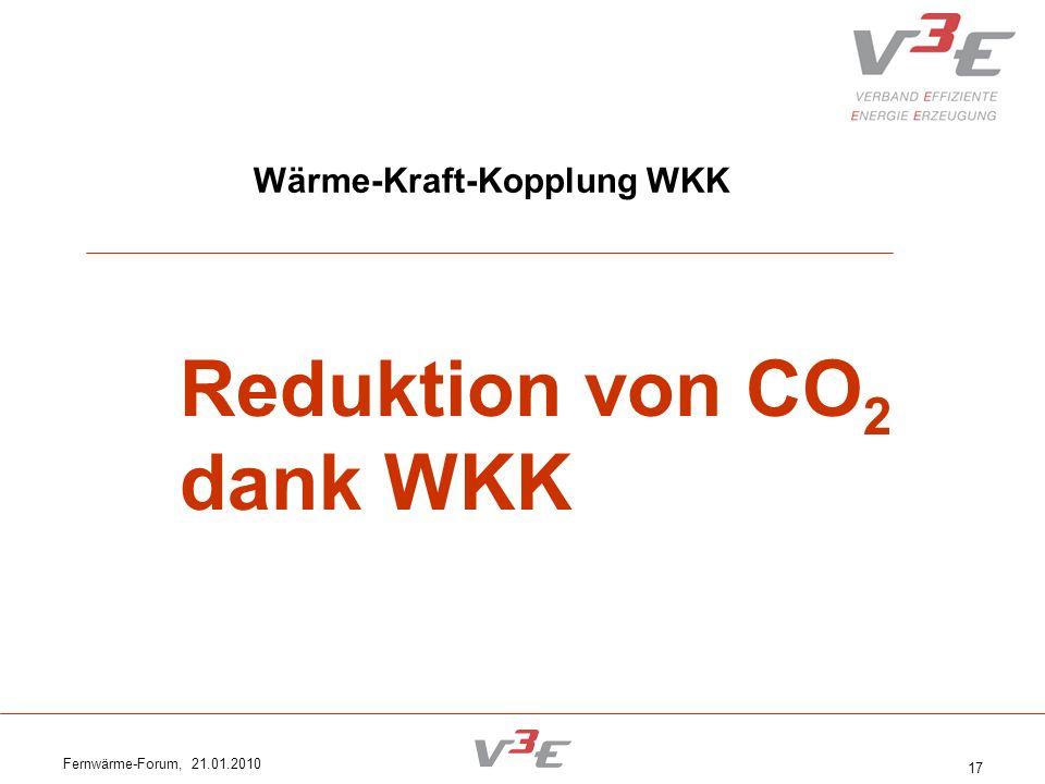 Fernwärme-Forum, 21.01.2010 17 Wärme-Kraft-Kopplung WKK Reduktion von CO 2 dank WKK