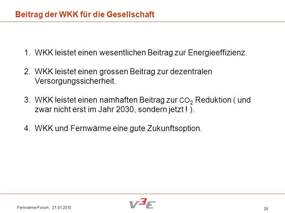 Fernwärme-Forum, 21.01.2010 24 Beitrag der WKK für die Gesellschaft 1.WKK leistet einen wesentlichen Beitrag zur Energieeffizienz. 2.WKK leistet einen