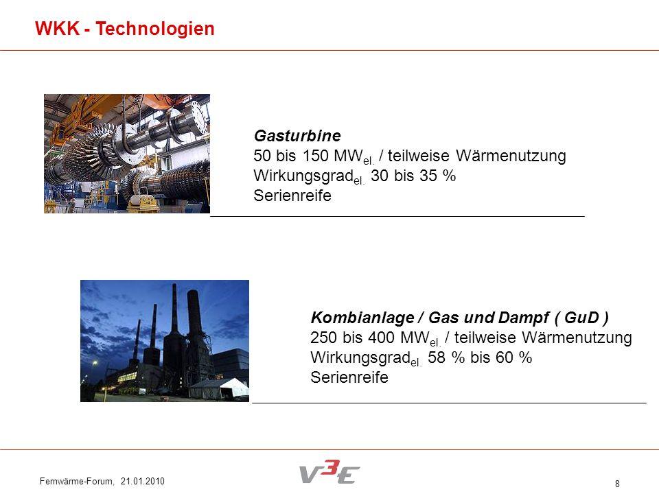Fernwärme-Forum, 21.01.2010 8 Gasturbine 50 bis 150 MW el. / teilweise Wärmenutzung Wirkungsgrad el. 30 bis 35 % Serienreife Kombianlage / Gas und Dam