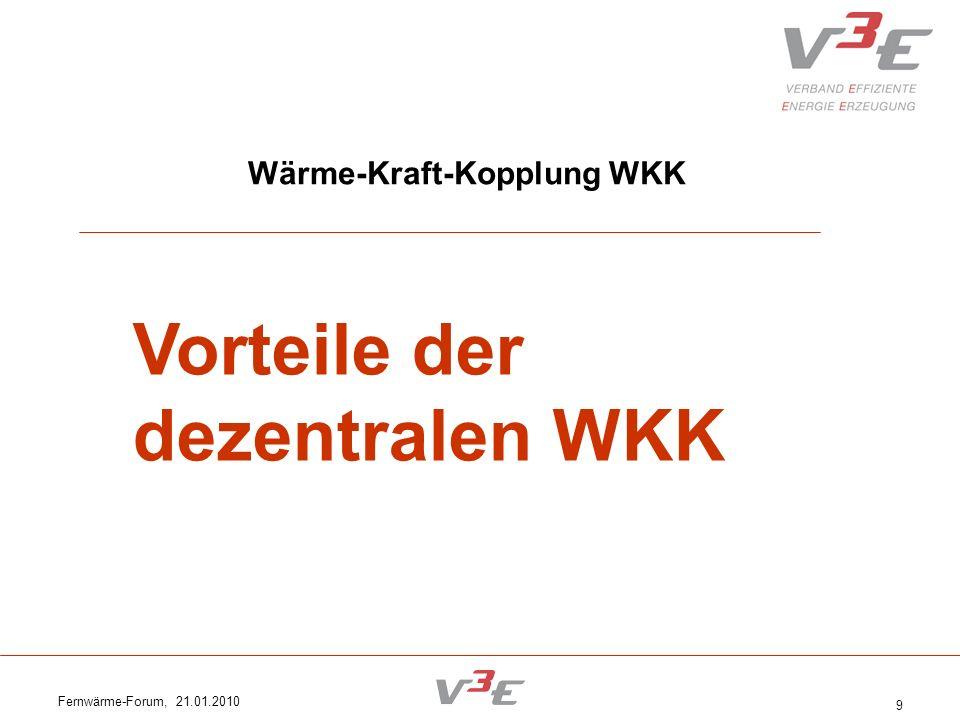 Fernwärme-Forum, 21.01.2010 10 WKK Vorteile: dezentrale Einspeisung am Ort des Bedarfs Auf tiefster Netzebene; keine Übertragungs- verluste