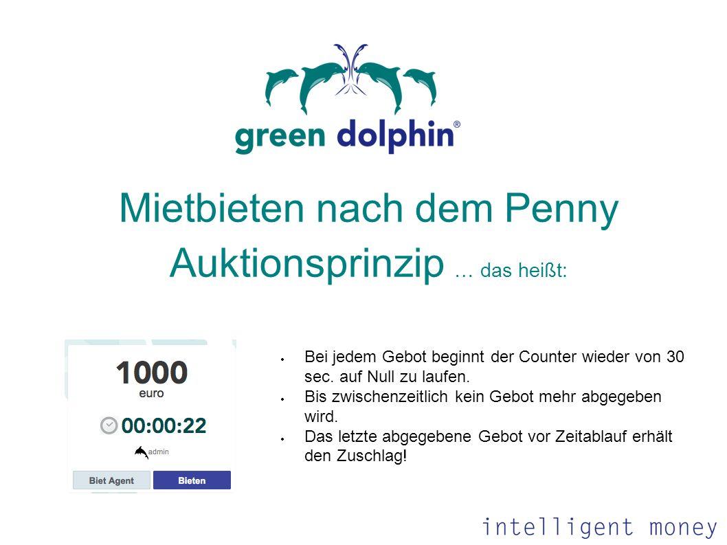 Mietbieten nach dem Penny Auktionsprinzip … das heißt: Bei jedem Gebot beginnt der Counter wieder von 30 sec. auf Null zu laufen. Bis zwischenzeitlich