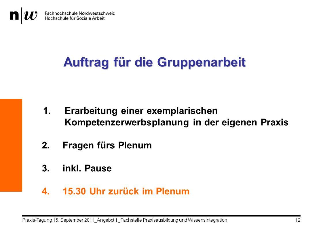 Praxis-Tagung 15. September 2011_Angebot 1_Fachstelle Praxisausbildung und Wissensintegration12 Auftrag für die Gruppenarbeit 1.Erarbeitung einer exem