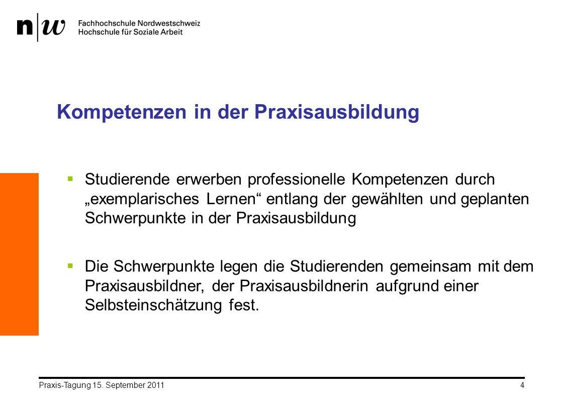 Praxis-Tagung 15. September 20114 Kompetenzen in der Praxisausbildung Studierende erwerben professionelle Kompetenzen durch exemplarisches Lernen entl