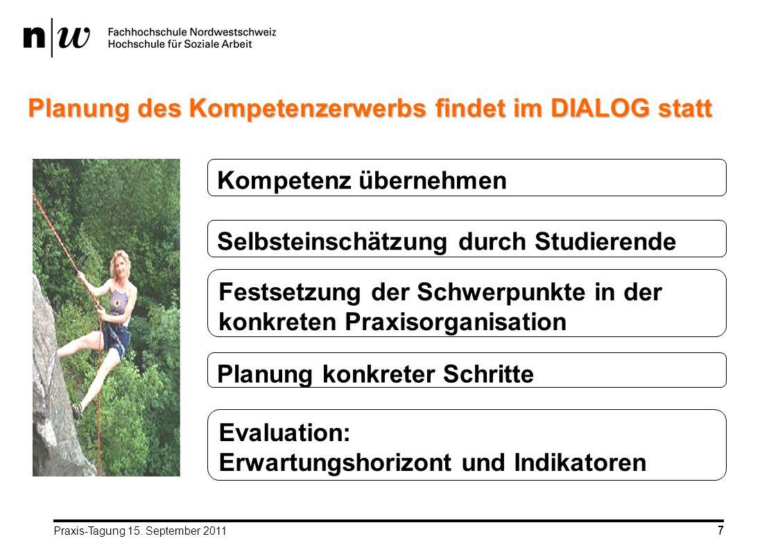 Praxis-Tagung 15. September 20117 7 Planung des Kompetenzerwerbs findet im DIALOG statt Kompetenz übernehmen Selbsteinschätzung durch Studierende Fest