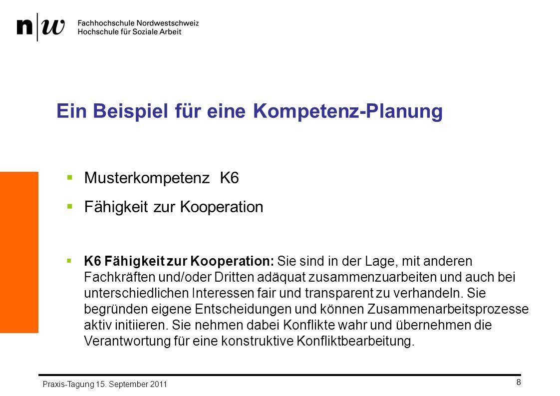 8 Ein Beispiel für eine Kompetenz-Planung Musterkompetenz K6 Fähigkeit zur Kooperation K6 Fähigkeit zur Kooperation: Sie sind in der Lage, mit anderen Fachkräften und/oder Dritten adäquat zusammenzuarbeiten und auch bei unterschiedlichen Interessen fair und transparent zu verhandeln.