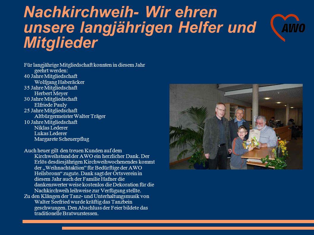 Nachkirchweih- Wir ehren unsere langjährigen Helfer und Mitglieder Für langjährige Mitgliedschaft konnten in diesem Jahr geehrt werden: 40 Jahre Mitgl
