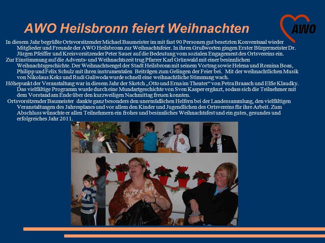 AWO Heilsbronn feiert Weihnachten In diesem Jahr begrüßte Ortsvorsitzender Michael Baumeister im mit fast 90 Personen gut besetzten Konventsaal wieder