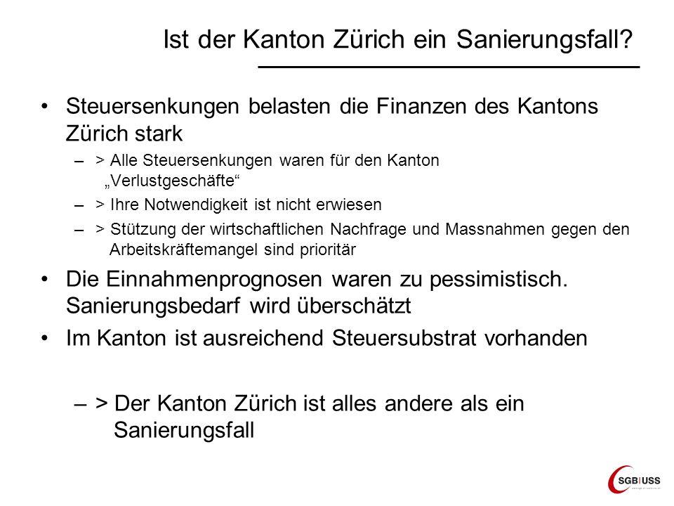 Ist der Kanton Zürich ein Sanierungsfall? Steuersenkungen belasten die Finanzen des Kantons Zürich stark –> Alle Steuersenkungen waren für den Kanton