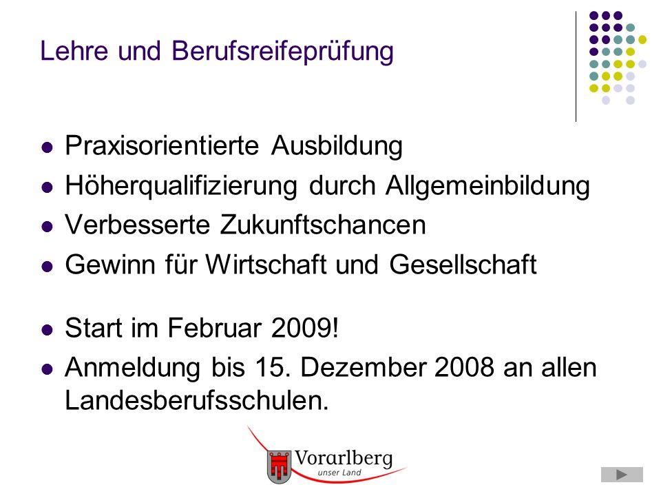 Lehre und Berufsreifeprüfung Praxisorientierte Ausbildung Höherqualifizierung durch Allgemeinbildung Verbesserte Zukunftschancen Gewinn für Wirtschaft und Gesellschaft Start im Februar 2009.