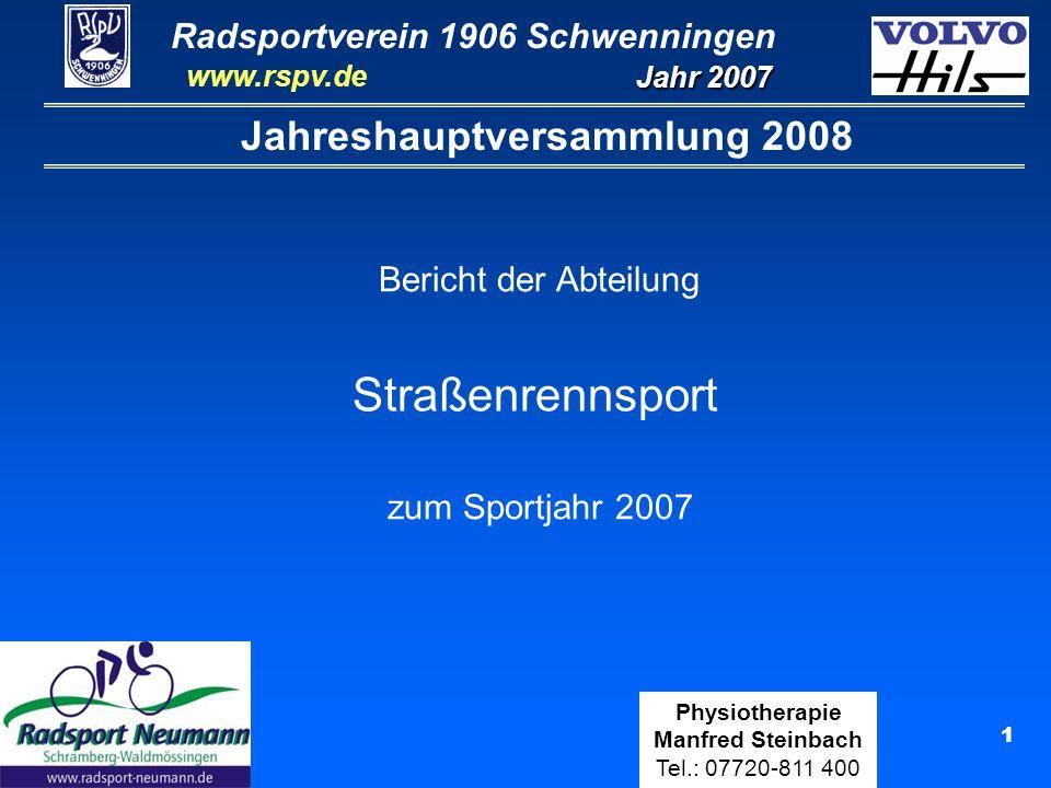 Radsportverein 1906 Schwenningen Jahr 2007 www.rspv.de Physiotherapie Manfred Steinbach Tel.: 07720-811 400 22 Wolfgang Schleicher Elite C (12 Rennen) Ergebnisse Ranglisten: 31.