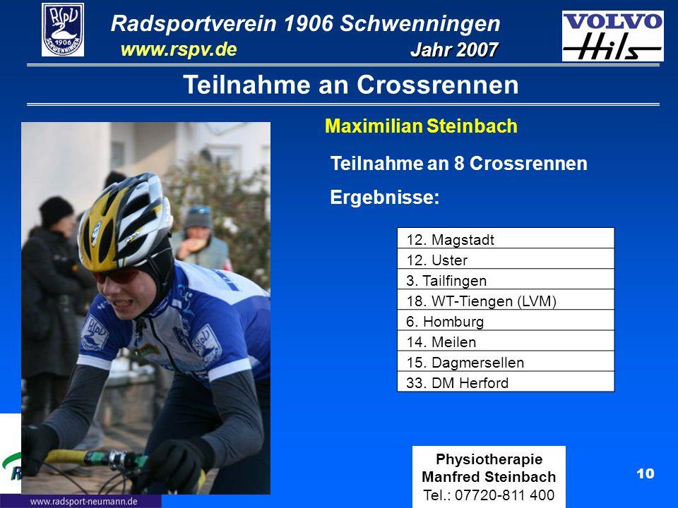 Radsportverein 1906 Schwenningen Jahr 2007 www.rspv.de Physiotherapie Manfred Steinbach Tel.: 07720-811 400 10 Teilnahme an Crossrennen Maximilian Ste