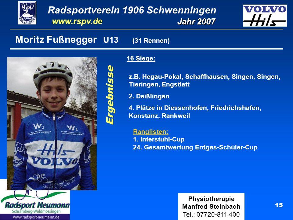 Radsportverein 1906 Schwenningen Jahr 2007 www.rspv.de Physiotherapie Manfred Steinbach Tel.: 07720-811 400 15 Moritz Fußnegger U13 (31 Rennen) 16 Sie
