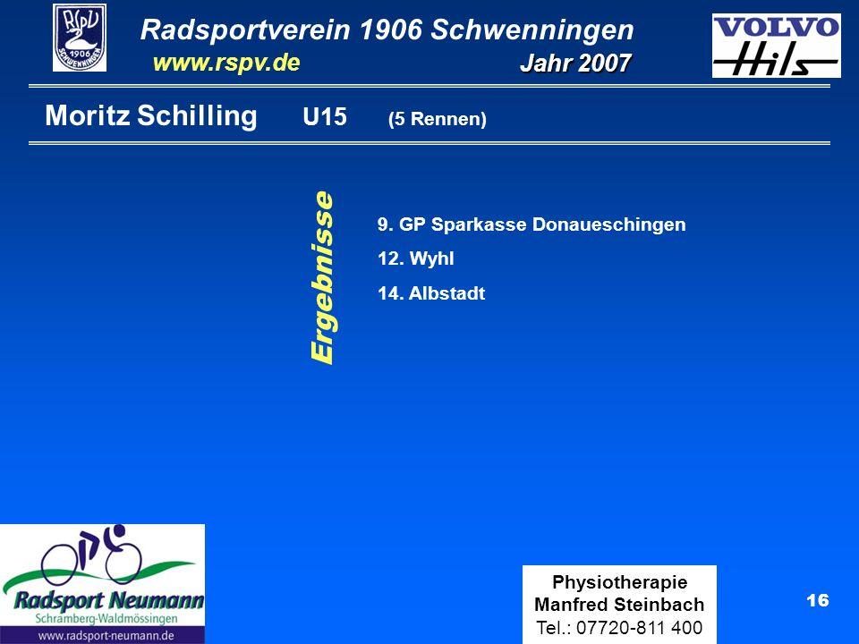 Radsportverein 1906 Schwenningen Jahr 2007 www.rspv.de Physiotherapie Manfred Steinbach Tel.: 07720-811 400 16 Moritz Schilling U15 (5 Rennen) Ergebni