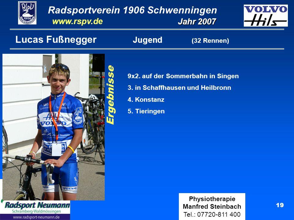 Radsportverein 1906 Schwenningen Jahr 2007 www.rspv.de Physiotherapie Manfred Steinbach Tel.: 07720-811 400 19 Lucas Fußnegger Jugend (32 Rennen) Erge