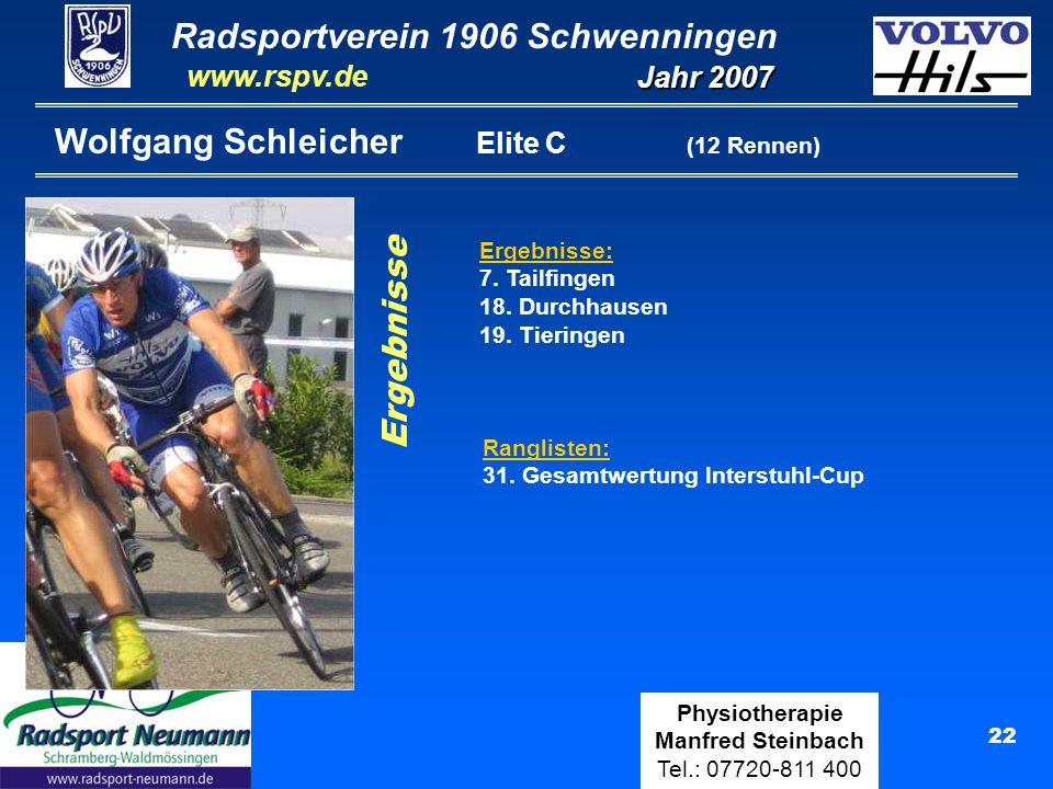 Radsportverein 1906 Schwenningen Jahr 2007 www.rspv.de Physiotherapie Manfred Steinbach Tel.: 07720-811 400 22 Wolfgang Schleicher Elite C (12 Rennen)