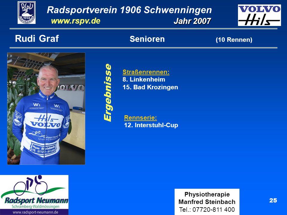 Radsportverein 1906 Schwenningen Jahr 2007 www.rspv.de Physiotherapie Manfred Steinbach Tel.: 07720-811 400 25 Rudi Graf Senioren (10 Rennen) Straßenr