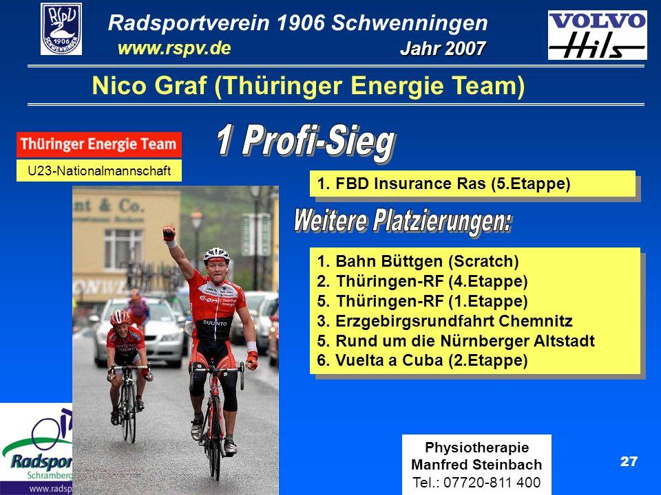 Radsportverein 1906 Schwenningen Jahr 2007 www.rspv.de Physiotherapie Manfred Steinbach Tel.: 07720-811 400 27 Nico Graf (Thüringer Energie Team) U23-