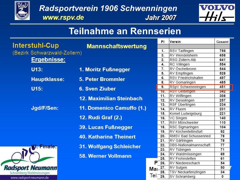 Radsportverein 1906 Schwenningen Jahr 2007 www.rspv.de Physiotherapie Manfred Steinbach Tel.: 07720-811 400 8 Teilnahme an Rennserien Erdgas-Schüler-Cup Landesebene Baden-Württemberg (Qualifikation für WRSV-Auswahl) Schüler U15:8.