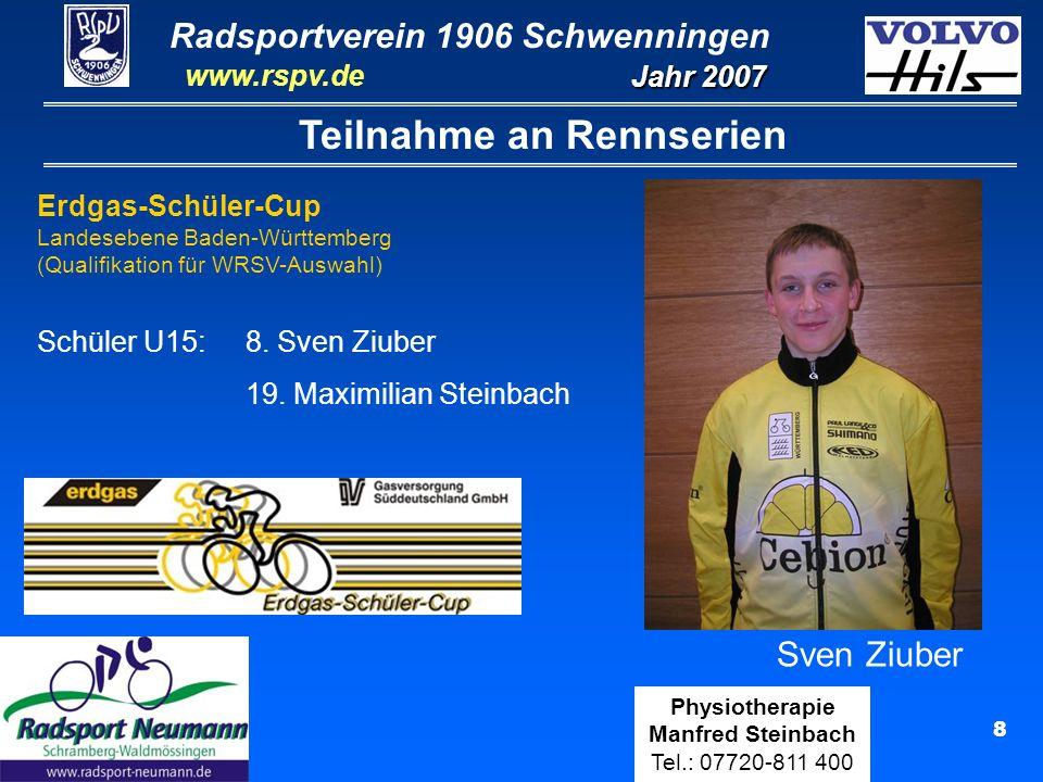 Radsportverein 1906 Schwenningen Jahr 2007 www.rspv.de Physiotherapie Manfred Steinbach Tel.: 07720-811 400 19 Lucas Fußnegger Jugend (32 Rennen) Ergebnisse 9x2.