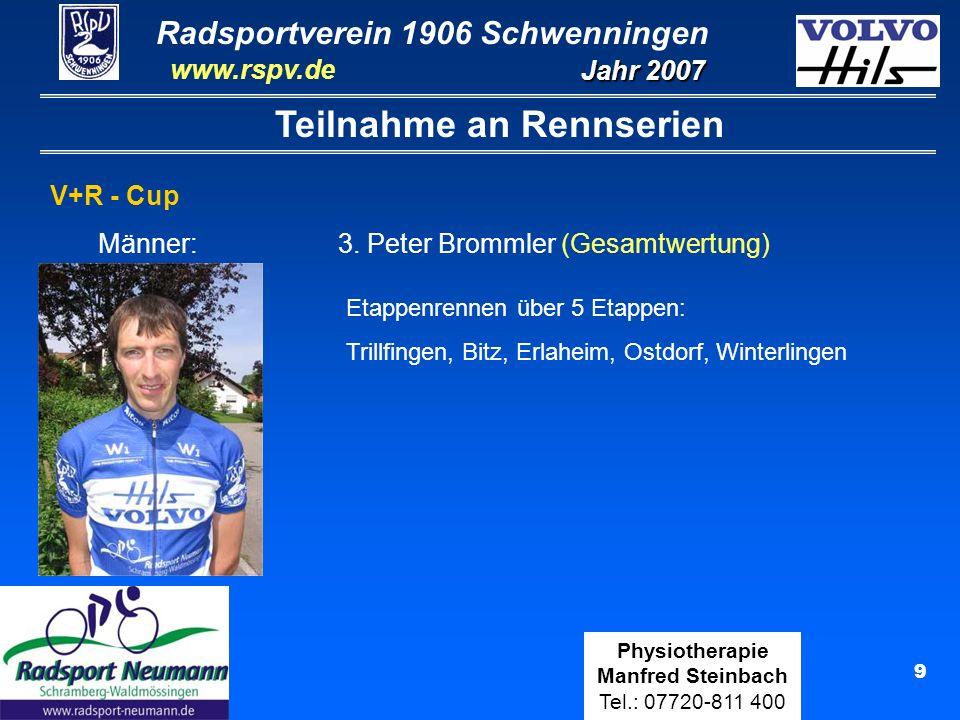 Radsportverein 1906 Schwenningen Jahr 2007 www.rspv.de Physiotherapie Manfred Steinbach Tel.: 07720-811 400 10 Teilnahme an Crossrennen Maximilian Steinbach Teilnahme an 8 Crossrennen Ergebnisse: 12.