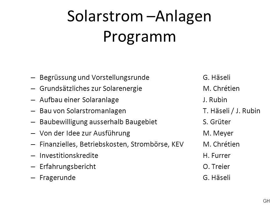 Solarstrom –Anlagen Programm – Begrüssung und VorstellungsrundeG. Häseli – Grundsätzliches zur SolarenergieM. Chrétien – Aufbau einer SolaranlageJ. Ru
