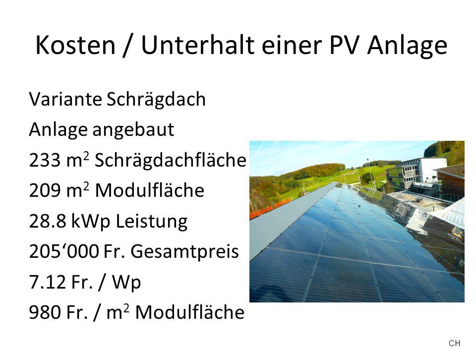 Kosten / Unterhalt einer PV Anlage Variante Schrägdach Anlage angebaut 233 m 2 Schrägdachfläche 209 m 2 Modulfläche 28.8 kWp Leistung 205000 Fr. Gesam