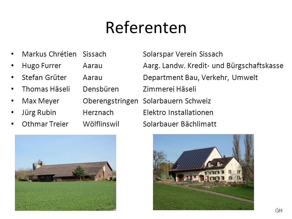 Referenten Markus Chrétien SissachSolarspar Verein Sissach Hugo FurrerAarauAarg. Landw. Kredit- und Bürgschaftskasse Stefan GrüterAarauDepartment Bau,
