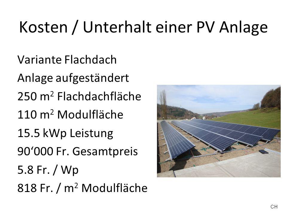 Kosten / Unterhalt einer PV Anlage Variante Flachdach Anlage aufgeständert 250 m 2 Flachdachfläche 110 m 2 Modulfläche 15.5 kWp Leistung 90000 Fr. Ges