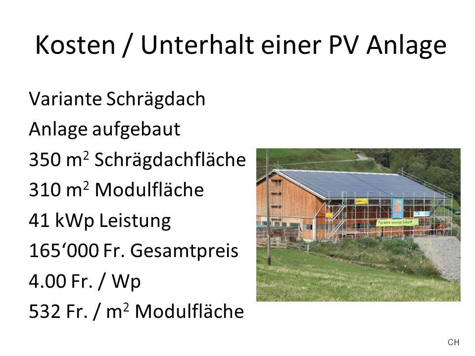 Kosten / Unterhalt einer PV Anlage Variante Schrägdach Anlage angebaut 233 m 2 Schrägdachfläche 209 m 2 Modulfläche 28.8 kWp Leistung 205000 Fr.
