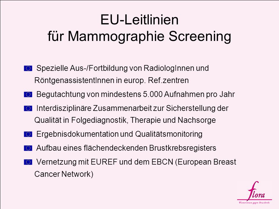 EU-Leitlinien für Mammographie Screening Spezielle Aus-/Fortbildung von RadiologInnen und RöntgenassistentInnen in europ. Ref.zentren Begutachtung von