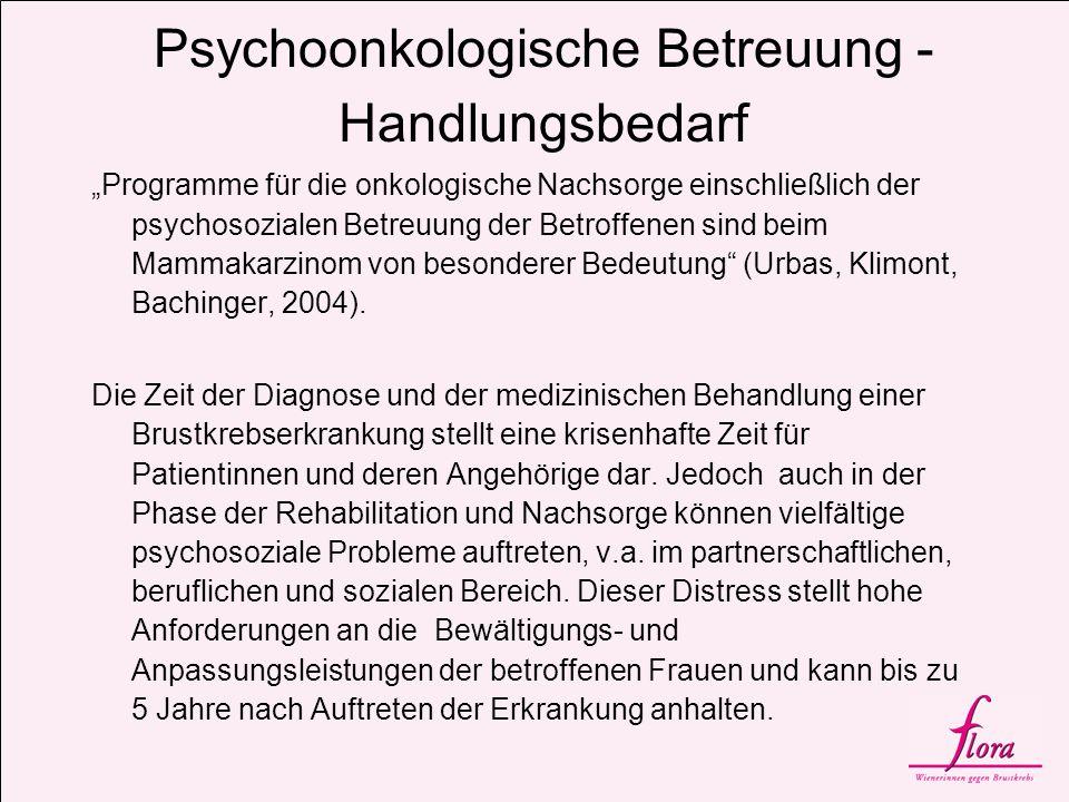Psychosoziale Begleitung Der Bedarf an psychosozialer Begleitung über alle Krankheitsphasen wird auf etwa 30% geschätzt (vgl.