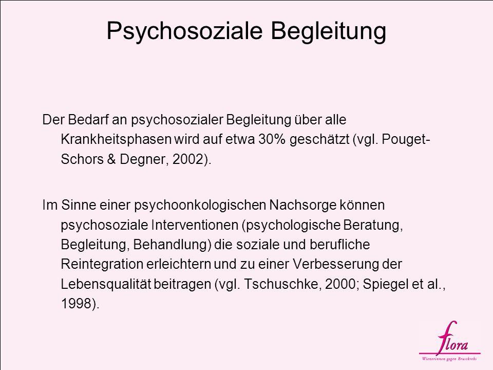 Psychosoziale Begleitung Der Bedarf an psychosozialer Begleitung über alle Krankheitsphasen wird auf etwa 30% geschätzt (vgl. Pouget- Schors & Degner,