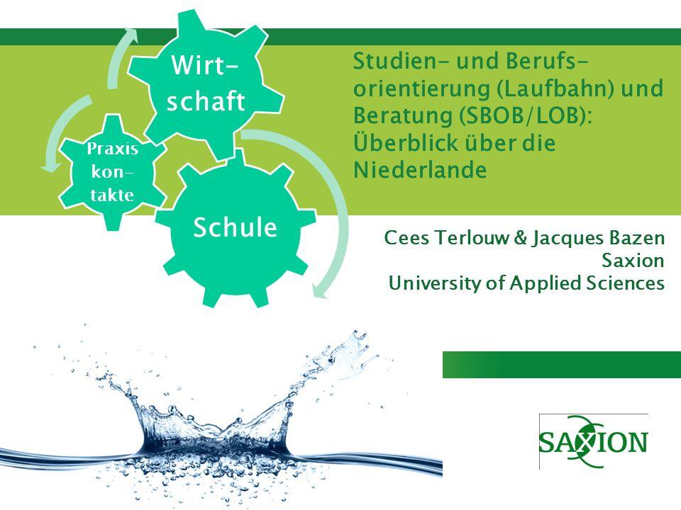 Kom verder. Saxion. Cees Terlouw & Jacques Bazen Saxion University of Applied Sciences Studien- und Berufs- orientierung (Laufbahn) und Beratung (SBOB