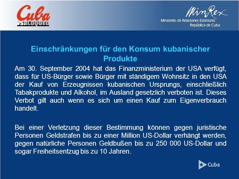 Einschränkungen für den Konsum kubanischer Produkte Am 30.