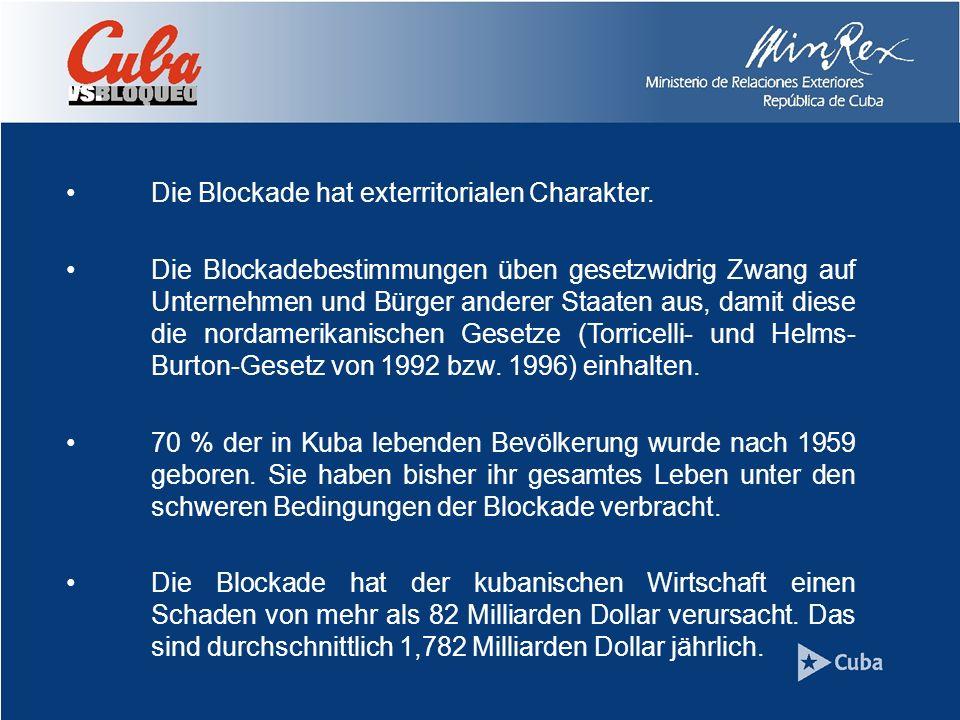 Die Blockade hat exterritorialen Charakter.