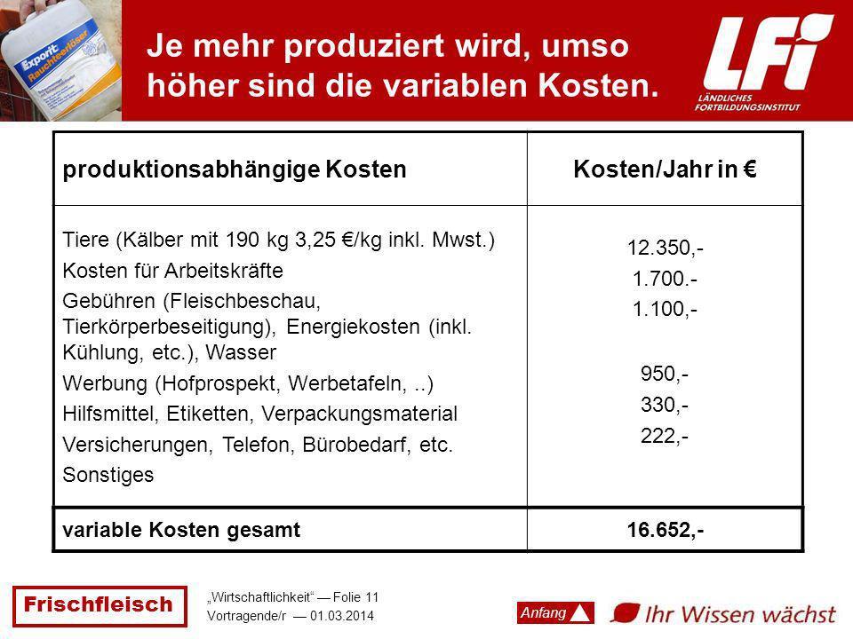 Frischfleisch Wirtschaftlichkeit Folie 11 Vortragende/r 01.03.2014 Anfang Je mehr produziert wird, umso höher sind die variablen Kosten. produktionsab