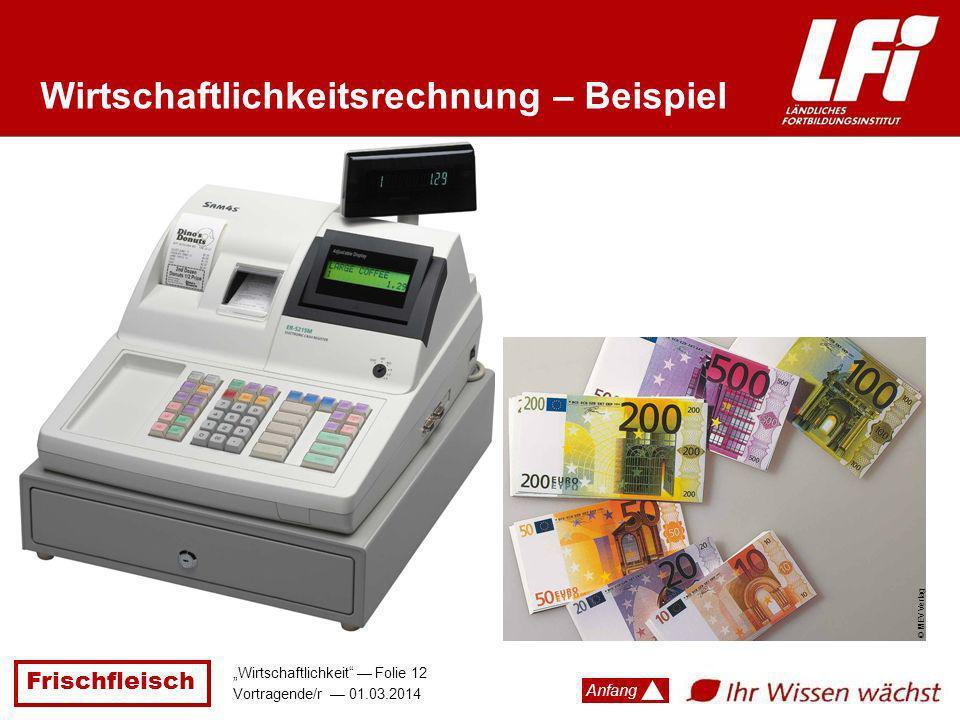 Frischfleisch Wirtschaftlichkeit Folie 12 Vortragende/r 01.03.2014 Anfang Wirtschaftlichkeitsrechnung – Beispiel © MEV Verlag