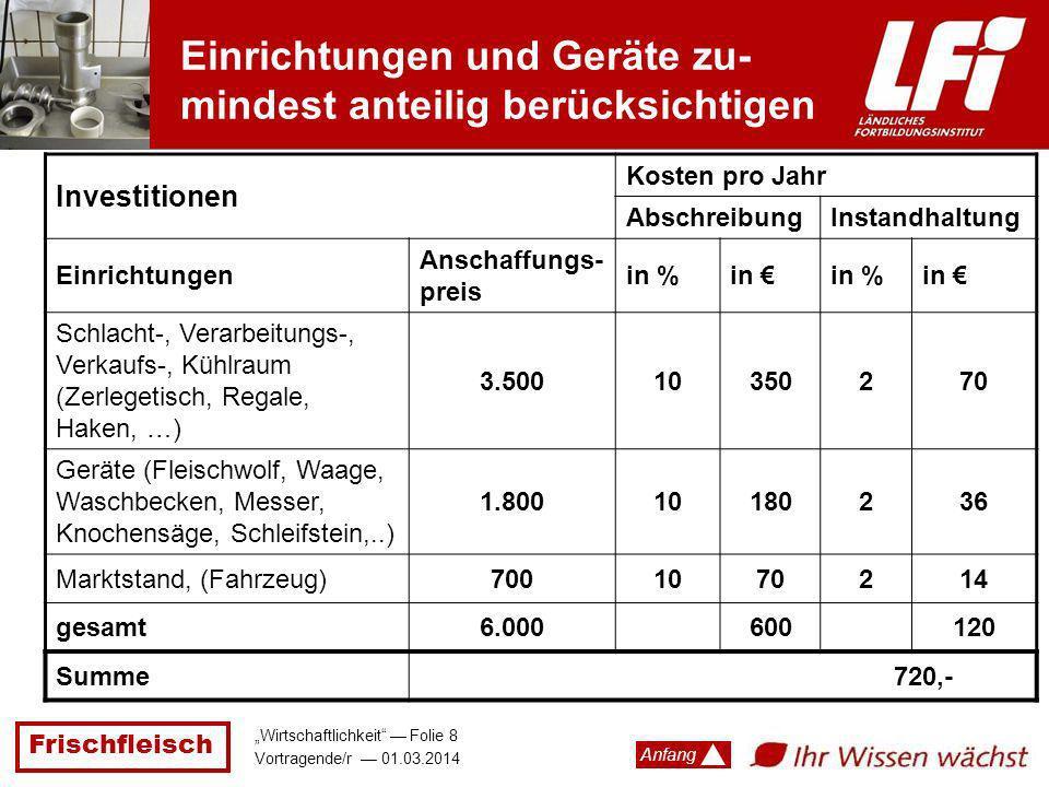 Frischfleisch Wirtschaftlichkeit Folie 8 Vortragende/r 01.03.2014 Anfang Einrichtungen und Geräte zu- mindest anteilig berücksichtigen Investitionen K